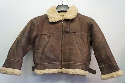 Vintage Boy's Hollies Lambsfur Shearling Leather Flying Jacket Size 122
