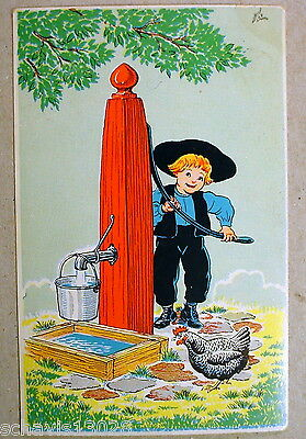 Amish Boy Water Pump Rooster Unposted Yorkraft PA Dutch Vintage Postcard 895