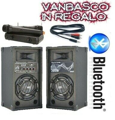 COPPIA CASSE AMPLIFICATE KARAOKE + MICROFONI WIRELESS + VANBASCO + CAVO PC promo