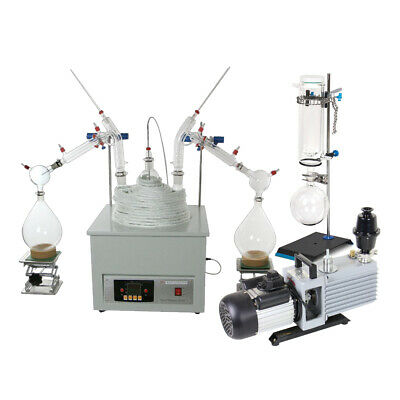 10L Short Path Distillation Glassware&Magnetic Stirring Heating Mantle&Pump