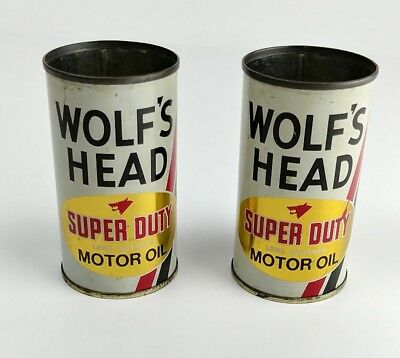 Wolf's Head Super Duty Motor Oil Vintage Tin Can Banks - No Lids - Lot of 2