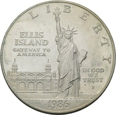 Künker: USA, 1 Dollar 1986 San Francisco, Statue of Liberty, Ellis Island, TOP!