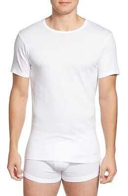 1926967a30b $72 CALVIN KLEIN Men's WHITE CREW NECK SLIM FIT T-SHIRT 3-PACK UNDERSHIRT