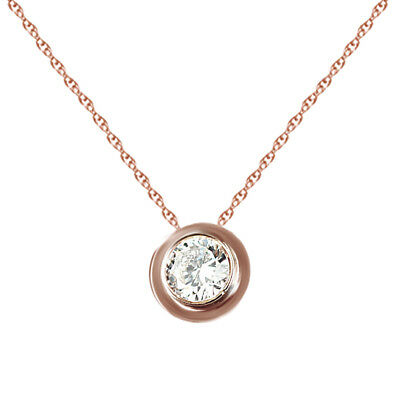 "Cubic Zirconia Solitaire Pendant w/18"" Chain 18k Rose Gold Over Sterling Silver"