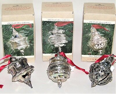 Lot of 3 Hallmark Old World Silver Showcase Ornaments Dove of Peace Sleigh Stars