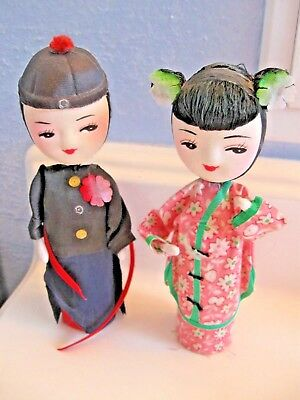 Vintage Asian Art Doll Boy Girl Set Chinese Outfit - Hand made
