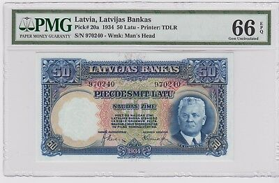 Latvia 1934 50 Latu P-20a Choice UNC PMG 66 EPQ .VERY  RARE