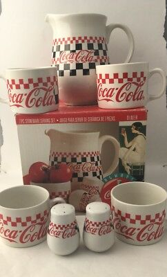 Coca Cola 7 Piece Stoneware Serving Pitcher 4 Large Mugs Salt & Pepper Shakers
