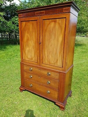 Antique Regency Mahogany Line Inlaid Linen Press Wardrobe