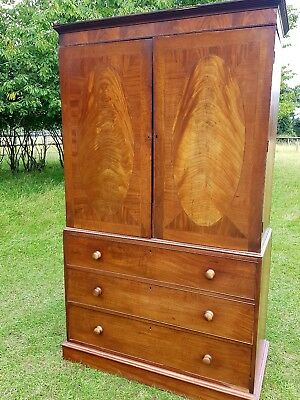 Antique Georgian Victorian Mahogany Linen Press Wardrobe