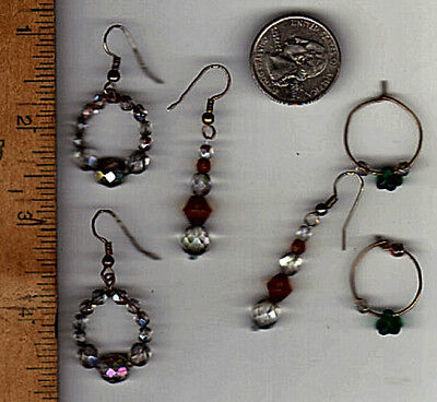 3 Pair of Fashion Earrings, All Hand Crafted with Crystal Faceted Glass Beads