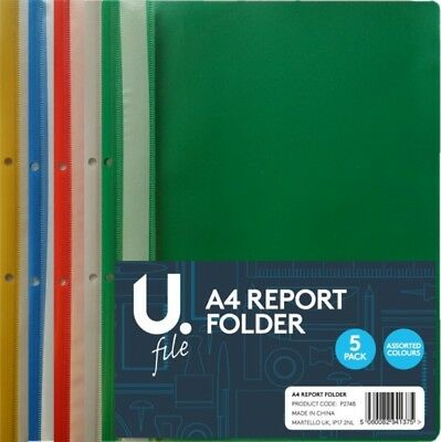 A4 Plastic Project Report Files Folders 2 Prong - 5 Colours Free P&p