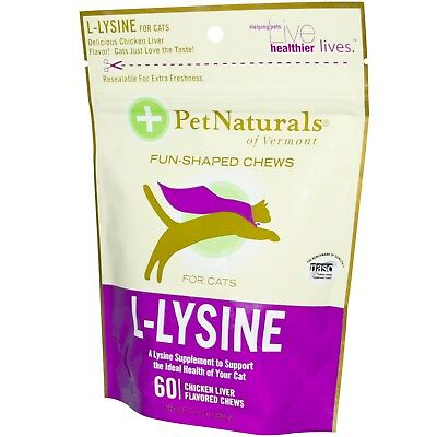 Pet Naturals of Vermont L-Lysine for Cats Chicken Liver - (2 Pack_60 Chewables)