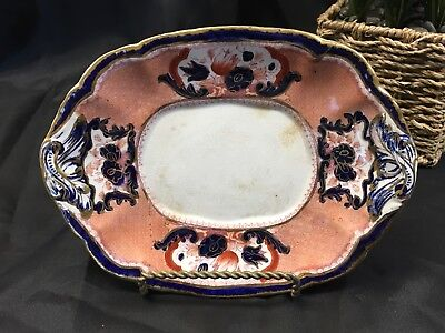 Antique Booths Ironstone China Victoria Cobalt Blue & Rust Gravy Plate Serving