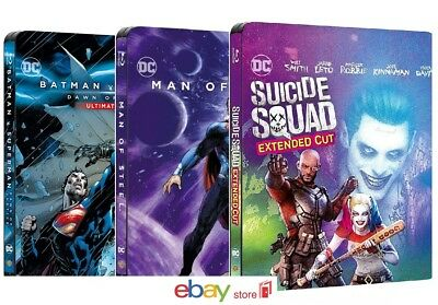 Suicide Squad, Man Of Steel, Batman V Superman (3 Blu-Ray Steelbook)