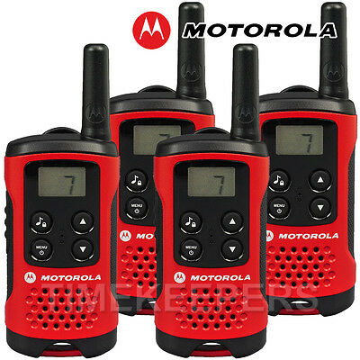 4Km Motorola TLKR T40 Walkie Talkie 2 Two Way PMR 446 Compact Radio Quad Set