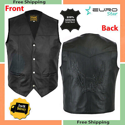 LEATHER-WAISTCOAT-Biker-Vest-Motorcycle-MotorBike-Leather-Vest-Embossed- Eagle