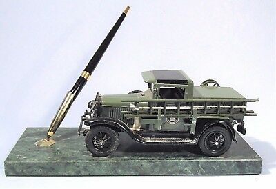 1931 At&t Bell Telephone Utility Truck Vintage Metal Model Pen Set Marble Base