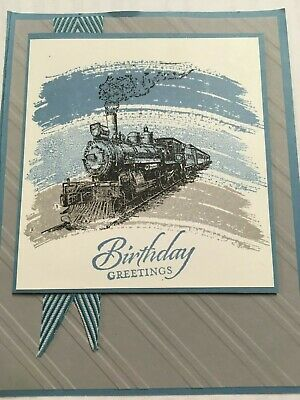 Stampin Up Handmade Male Guy Birthday Card - Train in grey and blue