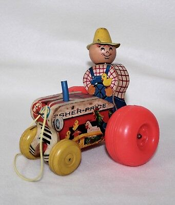 "Adorable Vintage 1962-68 Fisher Price ""Mighty Tractor"" Wood Pull Toy #629"