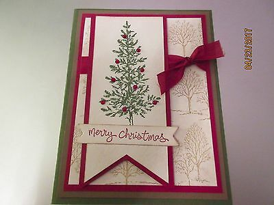 Stampin Up Handmade Christmas Greeting Card Merry Christmas tree in red/ green