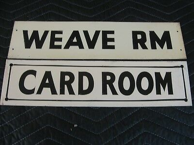 2 Antique 20s-30s-40s? Early Old Textile Mill Signs CARD ROOM-WEAVE RM