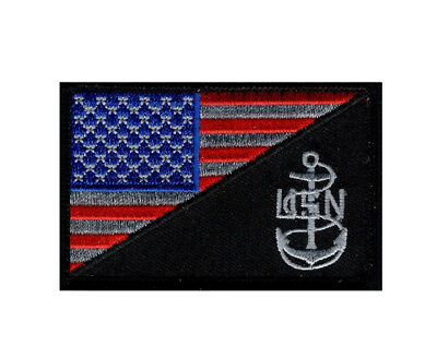American USA Flag Navy Anchor Morale Hook Fastener Patch (MTN2)