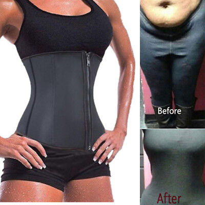 US Latex Waist Cincher Waist Trainer Trimmer Long Torso with 3 Hook Rows Zip UP