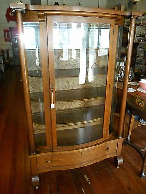 Antique OAK CURVED GLASS CHINA CABINET Pillars Solid Oak Not Veneer!!! BEAUTIFUL