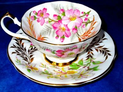 Queen Anne White Lilies and Apple Blossoms Vintage Fine Bone China Cup & Saucer