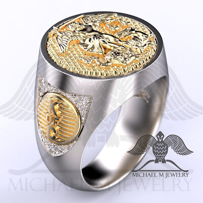 MichaelMJewelry Knights of Columbus K of C St. Michael 14k & .925 Archangel ring