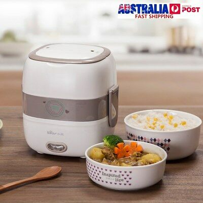 2 Layer Electric Portable Steamer Rice Cooker Food Heater Lunch Box 0.65L+0.55L
