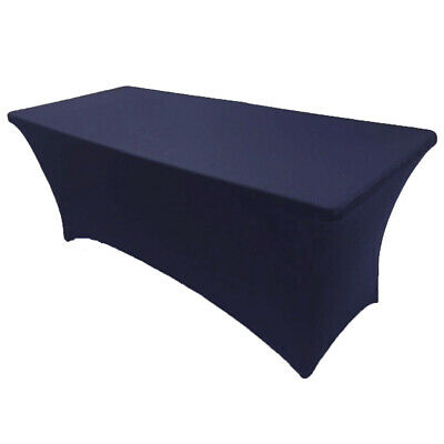 8' ft. Spandex Fitted Stretch Tablecloth Table Cover Wedding Banquet Navy Blue
