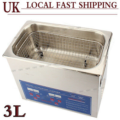 3L Digital Stainless Ultrasonic Cleaner Ultra Sonic Bath Timer Heate Basket Sale
