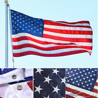 3x5 ft Nylon American USA US Flag Sewn Stripes EMBROIDERED Stars Brass Grommets