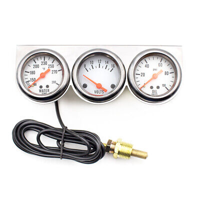 Universal 2'' 52mm Chrome Volt Water Oil Pressure Triple 3 Gauge Set Gauges Kit
