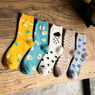 Women Girls Cartoon Egg Cloud Dog Paw Print Autumn Winter Soft Socks Novelty