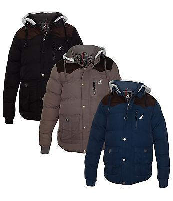 Kangol Mens Jacket Thick Padded Lined Detachable Hooded Coat
