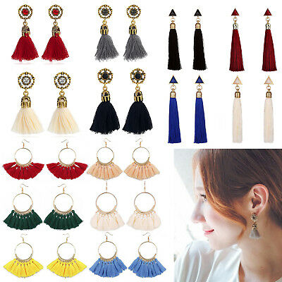 Fashion Women Bohemian Earrings Long Tassel Fringe Boho Dangle Earrings Jewelry