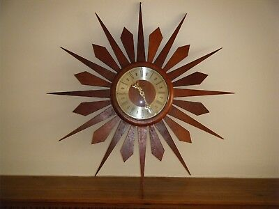 Vintage Retro 1960s 1970s Wood Wooden Starburst Sunburst Wall Clock