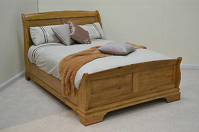 5ft Double Oak Sleigh Bed / Kingsize Bedstead / Solid Wood / French Farmhouse