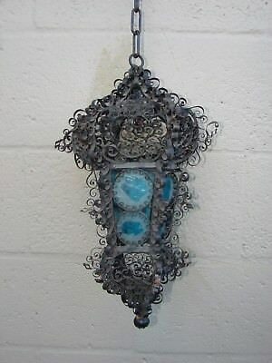 Antique wrought iron metal work hand made spanish gothic revival ? Candle fixtur