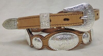 Nocona Size 32 Womens Brown Leather Concho Belt Scalloped Edge