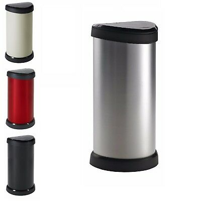 Deco Effects 40L Sturdy Steel & Plastic Round One-Touch Top Pedal Waste Dust Bin