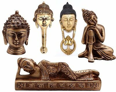 Radanya Brass Statue of Buddha Resting Face Showpiece Door Knocker Decor Handle
