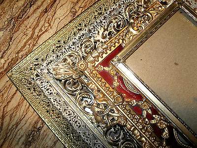 Vtg  Gold Brass & Ivory  Picture Frames Filigree & Metal Lacy Lot Of 5  ~~ Ab