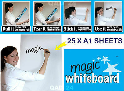 Magic Whiteboard Sheets 25 X A1 Erasable Dry Wipe Reusable Sticky Roll White