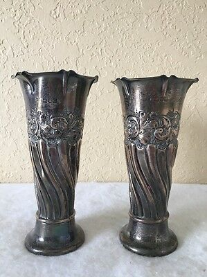 Antique English London Sterling Silver Vase, M.J.J. Matthew John Jessop,Set Of 2