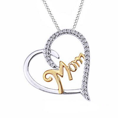"""Real Diamond """"MOM"""" Heart Pendant W/Chain 14k Two Tone Gold Over Sterling Silver"""