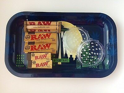 Rolling Tray Bundle - Raw Tobacco Rolling Papers, Herb Grinder, Stash Jar + More